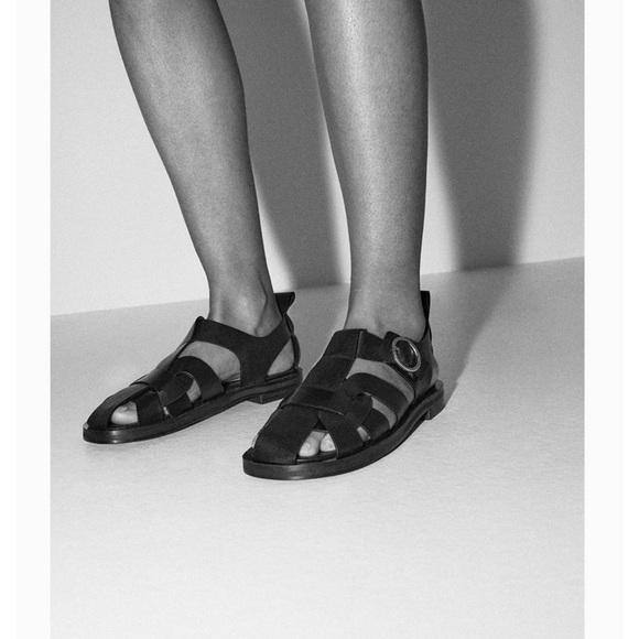 Zara Low Heel Leather Fisherman Sandals
